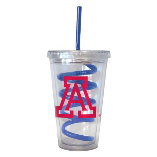 NCAA Arizona Wildcats Tumbler with Swirl Straw, 16-ounce