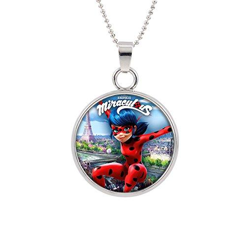 Miraculous Ladybug Pendant Necklace TV Comics Movies Cartoons Superhero Logo Theme Premium Quality Detailed Cosplay Jewelry Gift Series