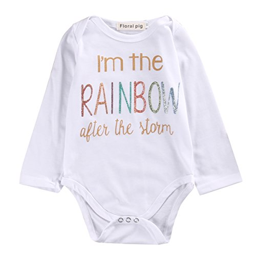 Infant Newborn Baby Boys Girls Lovely Letter Print Long Sleeve Romper Bodysuit Outfit (0-3M, white)