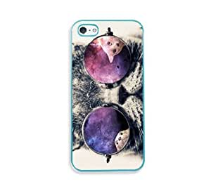 Galaxy Hipster Cat Aqua Silicon Bumper iPhone 5 & 5S Case - Fits iPhone 5 & 5S