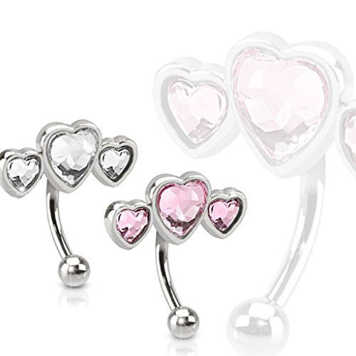 16GA Triple Heart Stainless Steel Eyebrow Curve with Paved Heart Shaped CZs (Pink) -