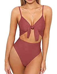 Womens Tie Knot Front Cut Out One Piece Swimwear High Waisted Bathing Suit