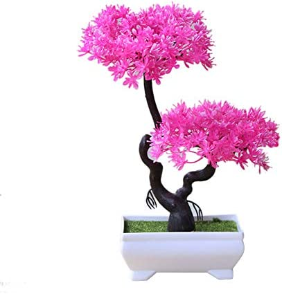 Aisamco Artificial Bonsai Tree Fake Plant Decoration Potted Artificial House Plants Japanese Pine Bonsai Plant 33 cm in Height for Home Decoration Desktop Display