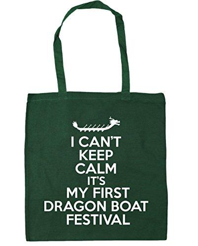 HippoWarehouse no puedo Mantener la calma es mi primera Dragon Boat Festival Tote Compras Bolsa de playa 42cm x38cm, 10litros verde oscuro