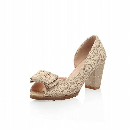 Bow Dress Heel Shoes Beige Dorsay High Chunky Pumps Pumps Womens Latasa toe Fashion Peep Shoes gvwPRE0q