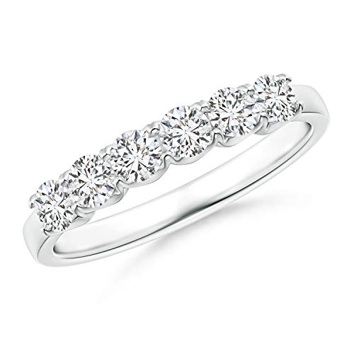 (Fishtail-Set Diamond Six Stone Wedding Band in Platinum (3mm Diamond))