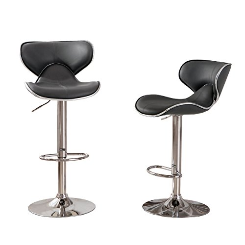 Roundhill Furniture Masaccio Cushioned Grey Leatherette Upholstery Airlift Swivel Barstool (Set of 2) - Black Bar Height Table