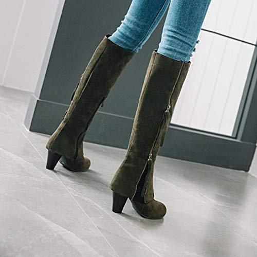 Gaslinyuan Frauen Elegante Stiefel Zipper Lace Größe (Farbe Block Kniehohe Schuhe (Farbe Größe : Grün, Größe : EU 38) - 29affb