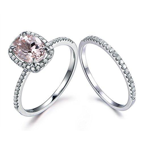 Pave Set Pink Diamonds - Oval Cut Morganite Wedding Ring Set Diamond Halo White Gold Simple Pave Band Thin Eternity Bridal