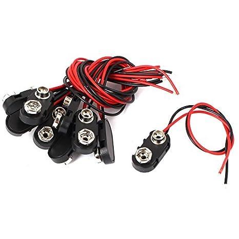 eDealMax 10 piezas de plástico Negro I Tipo de batería de 9V Clip hebilla Conectores de cable Conductores de 15cm - - Amazon.com