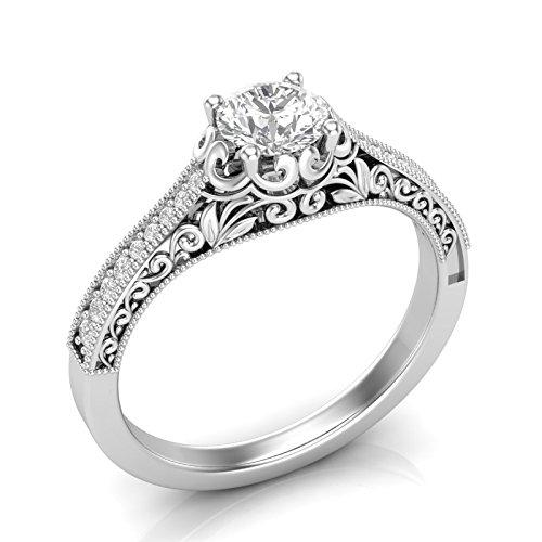 Amazon Com White Gold Art Deco Vintage Engagement Ring Antique
