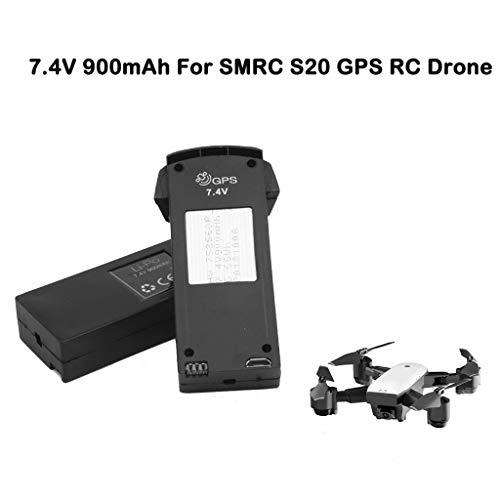 (Sodoop 2 Pack 7.4V 900mAh Li-po Battery for SMRC S20 GPS Version RC Drone Upgrade Backup Flight - Durable Batteries)