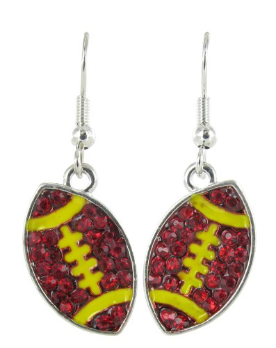 Flat Football Rhinestone Fish Hook Earrings - Dark Red Crystal and Yellow Enamel Stripes