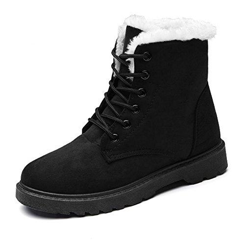 Botas De Nieve Con Cordones De Gamuza Para Mujer De Invierno Cálido Con Cordones Zapatillas De Plataforma Planas Negras