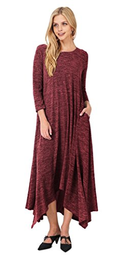 Tabeez Women's Casual Asymmetrical Long Heathered Knit Maxi Sweater Dress (Large, Burgundy)