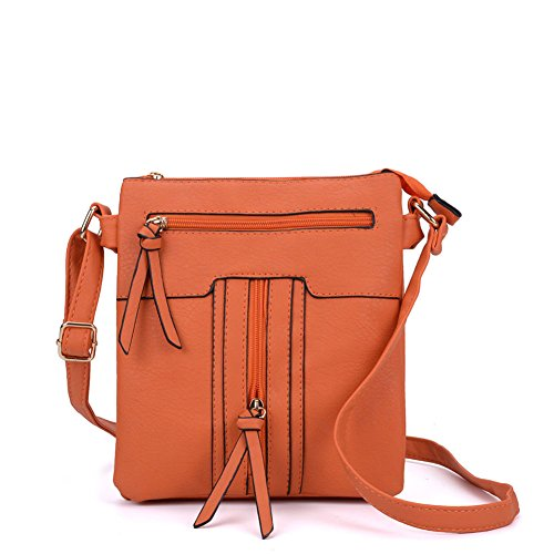 YOUNG Body Orange Cross PU Multiple Women Leather Fashion SALLY pockets Bag Quality High zipped dg4cOP