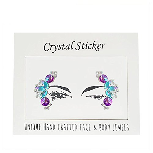 Women's Face Gems Rave Festival Face Jewels Stick On Crystals Bindi Rainbow Body Face Eye Tears Rhinestone Temporary Tattoo Face Rocks(Pack of -