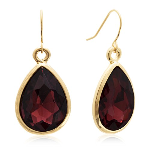 Pear Shape Merlot Crystal Earrings, Gold Tone