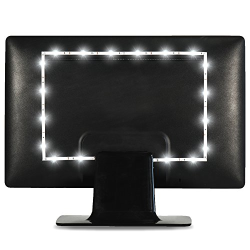 Luminoodle Computer Monitor Bias Lighting - USB TV Backlight, Ambient Home Theater Light - 6500K LED Accent Lighting to Reduce Eye Strain, Improve Contrast - 3.3 - Computer Backlight Monitor