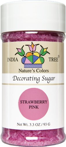 India Tree Strawberry Pink Decorating Sugar, 3.3oz bottle