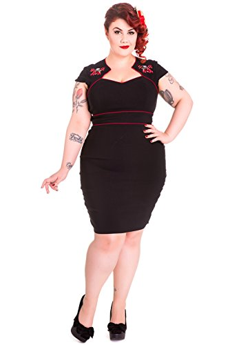 Hell-Bunny-Plus-Rockbilly-Pinup-Skull-Cherry-with-Red-Bow-Wiggle-Pencil-Dress