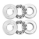 LDEXIN 2 Pack 15mm x 32mm x 12mm Chrome Steel 51202 Single Direction Thrust Precision Axial Ball Bearings
