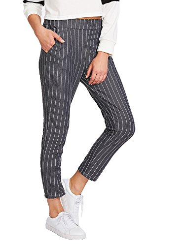 SweatyRocks Women's Slim High Waist Striped Pinstripe Peg Pants Capris Pants (Medium, Grey) (Cropped Pants Striped)