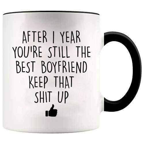 YouNique Designs 1 Year Anniversary Coffee Mug for Boyfriend, 11 ounces, White, 1st Anniversary Gift for Him (Best 1 Year Anniversary Gifts For Him)