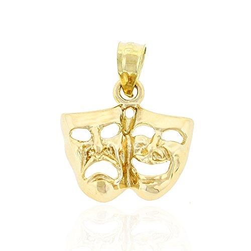 Charm America - Gold Drama Mask Charm - 10 Karat Solid Gold