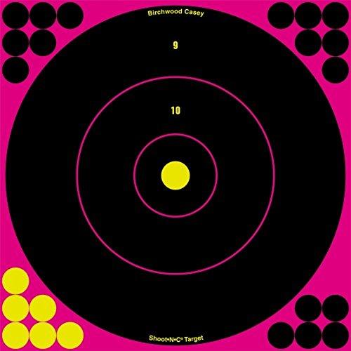 Shoot N C Shooting Target - Birchwood Casey Shoot-N-C Pink Bull's-eye Target (Pack of 30), 8-Inch, Black