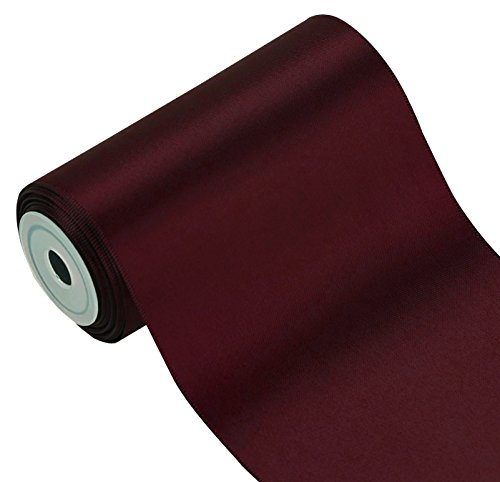 LaRibbons 4 inch Wide Solid Color Double Face Satin Ribbon Great for Chair Sash- 5 Yard/Spool (277 Burgundy)