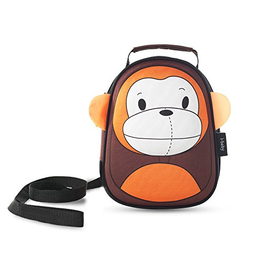 Harness Backpack Monkey (i-baby Baby Backpack with leash Toddler Kids School Bag Cute 3D Animal Design Lunch Box Bag with Safe Leash and Harness, Orange monkey)
