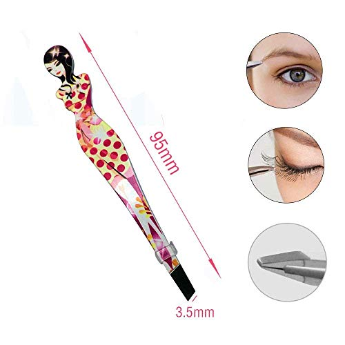 Eyebrow Tweezers Pinkiou Professional Slant tip Brow Clip Hair Removal Makeup Tool with Printed Beauty Cover Cosmetic 6…