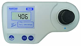 Milwaukee Mi406 Free Chlorine Colorimeter, 192mm Length x 104mm Width x 52mm Height, 0.00 - 5.00 mg/L, 0.01/0.10 mg/L Resolution, LCD Display