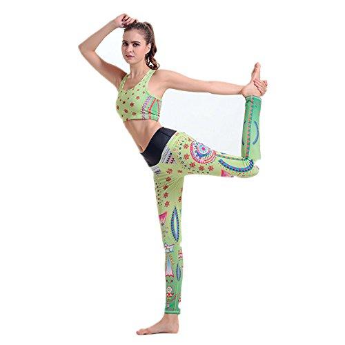 ZHLONG Slim Adelgazante tendencias deportivas y de ocio verdes impresión ropa de Yoga 1