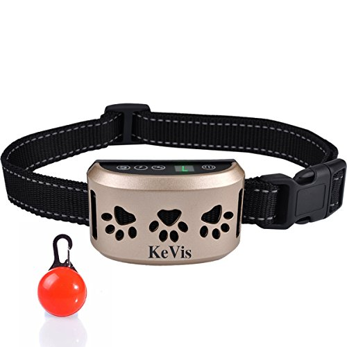 KeVis Bark Collar [2018 Upgrade Version] 7 Sensitivity Rechargeable Dog Barking Collar Beep/Vibration/ Safe Shock or No/Anti Bark Reflective Collar for Small Medium Large Dogs Bonus Cool Led Tag by