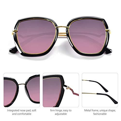 BEDO Gray Lens Polarized Sunglasses for Women Vintage Big Frame Sun Glasses Ladies Shades