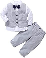 HenzWorld Boys Formal Suit Birthday Party Wedding Outfit Set Long Sleeve Gentleman Clothes Bowtie Shirt Vest P