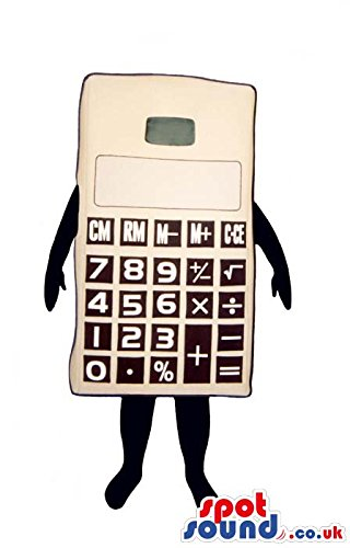 Big White Calculator SPOTSOUND US Mascot Costume With Black Number Keys And No (Calculator Costumes)