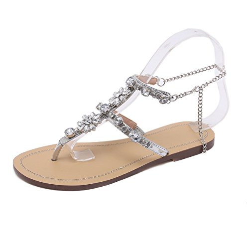 (Stupmary Women Flat Sandals Crystal Summer Gladiator Sandals Flip Flops Beach Party Shoes Chains Floral Silver, 8 M US)