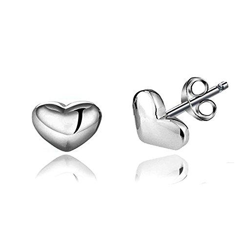 Acxico 925 Sterling Silver Shiny Side Heart Shape Stud Earrings