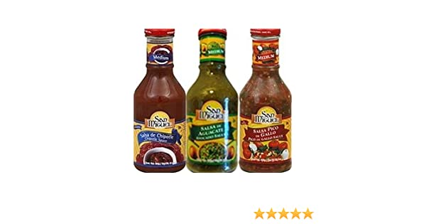 Amazon.com: San Miguel Salsa 16oz Glass Bottle (Pack of 3) Select Flavor Below (Sampler Pack - 1 each of Pico De Gallo * Chipotle & Avocado)