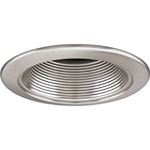 Progress Lighting P8044-09 Step Baffle Ic Trims with 360 Degree Positioning That Tilt 20 Degrees with 5-Inch Outside Diameter, Brushed Nickel