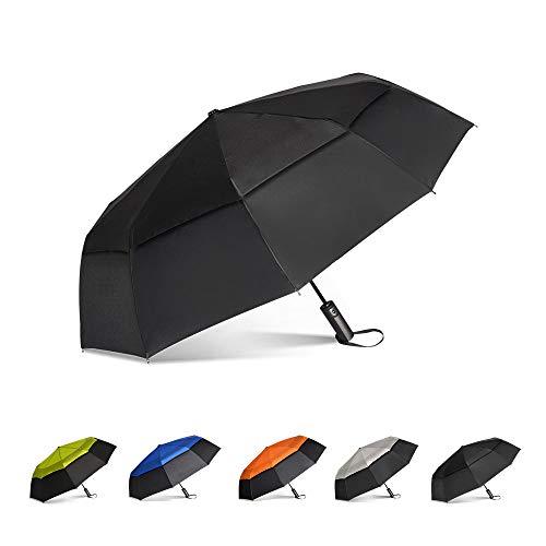 Brainstorming Large Travel Umbrella Windproof Compact Golf Umbrella Double Canopy Vented Automatic OpenRain Umbrella for Women Men, 47inch (Black& Black)