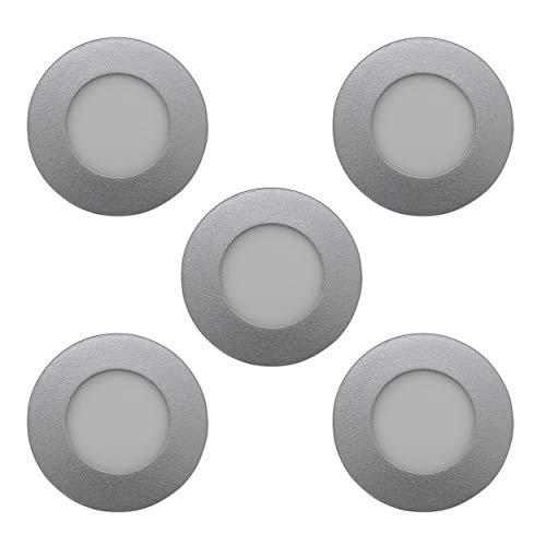 Set van 5 – LED inbouwspots paneel – 3 Watt matglas mat rond / cirkel zilver incl. transformator – Lichtkleur: warm wit