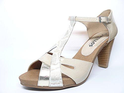 Sandalia mujer de la marca PITILLOS en Piel combinada Beige y Oro 1691 538 Beige