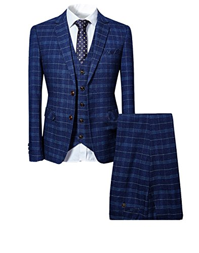 Blue Plaid Suit (Cloudstyle Mens 3 Piece Slim fit Checked Suit Blue/Black Single Breasted Vintage Suits)