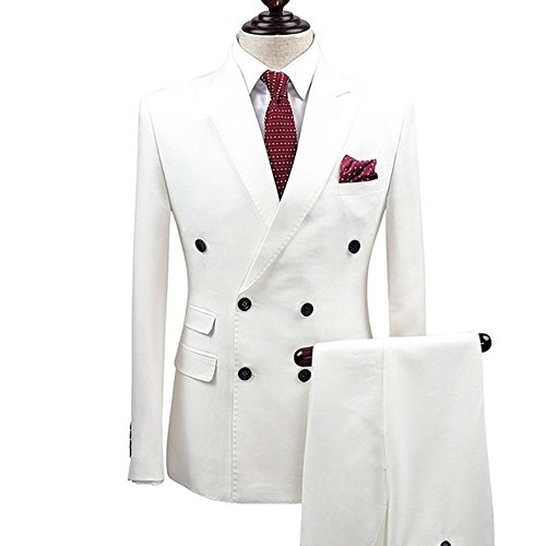 Peak Jacket Tuxedo Breasted Double (Double Breasted Slim Fit 2-Pieces Fashion Men Suits Formal Peak Lapel Wedding Tuxedo)