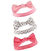 Yoga Sprout Baby Girls' 3 Pack Bow Baby Headbands,Pink/Gray,0-24 Months