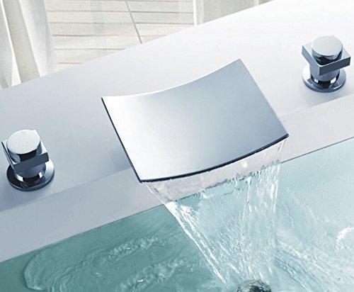 flg deck mount two handle widespread waterfall bathroom bath tub faucet chrome 75 inch spout